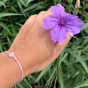 TOUS, Silver Spot Bracelet with Pink Enamel